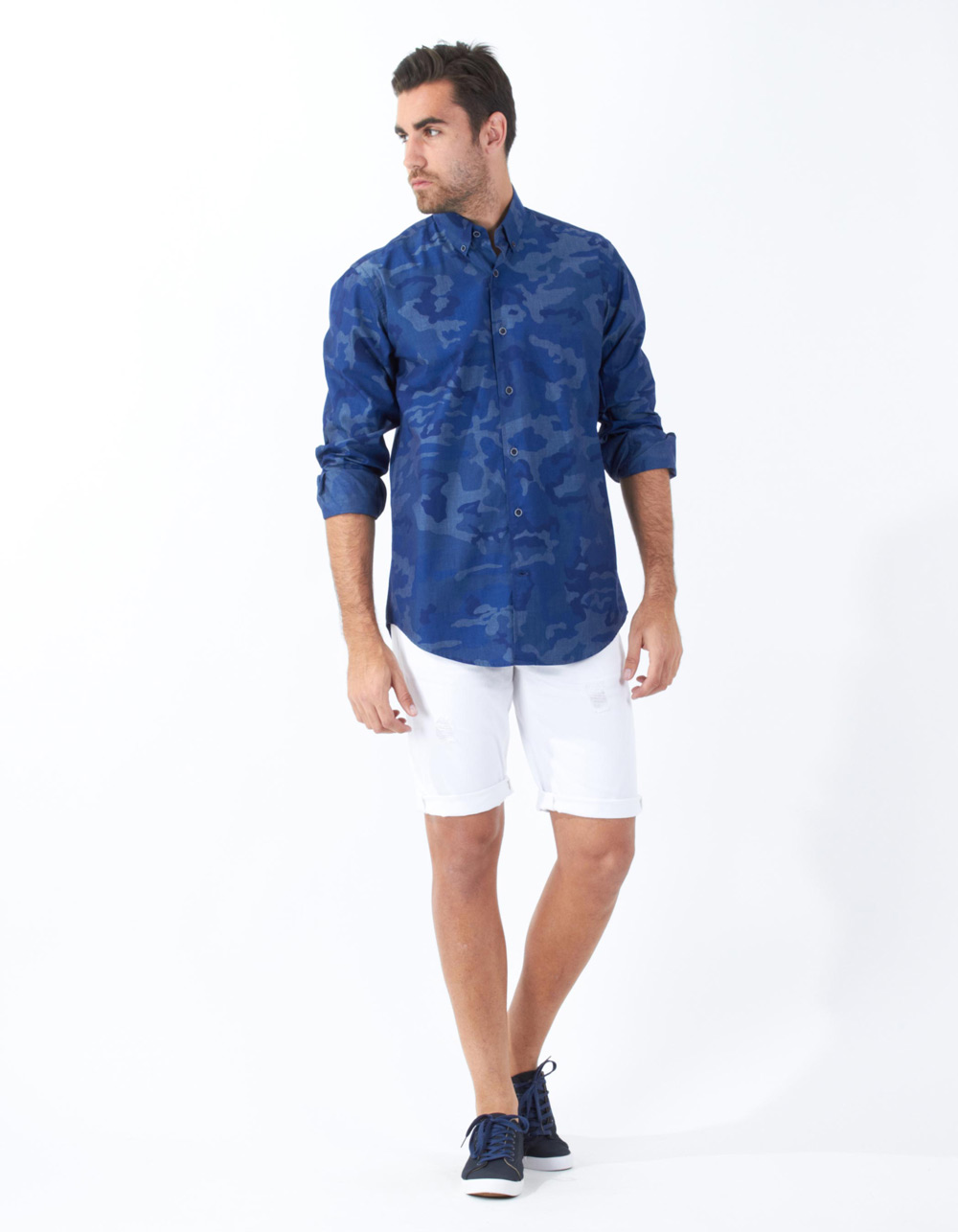 Navy blue camouflage shirt