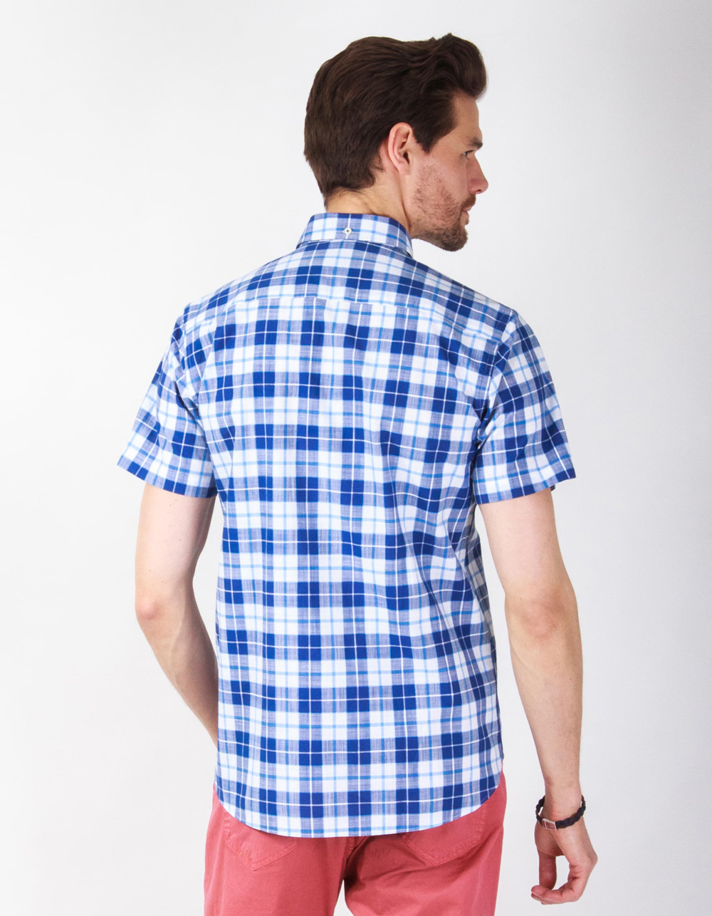 Blue checkered short sleeve - Backside