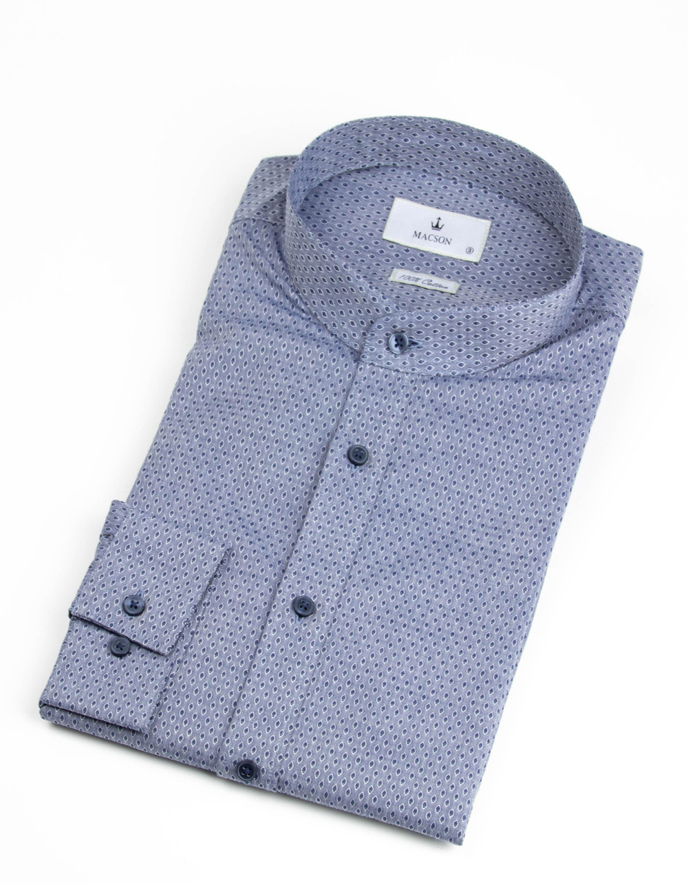 Grey Mao collar shirt with pattern
