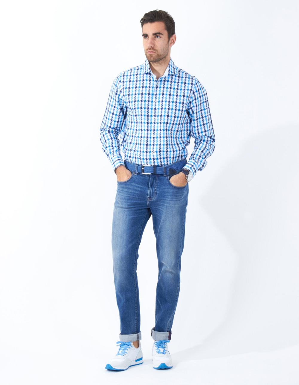 Structure checkered shirt