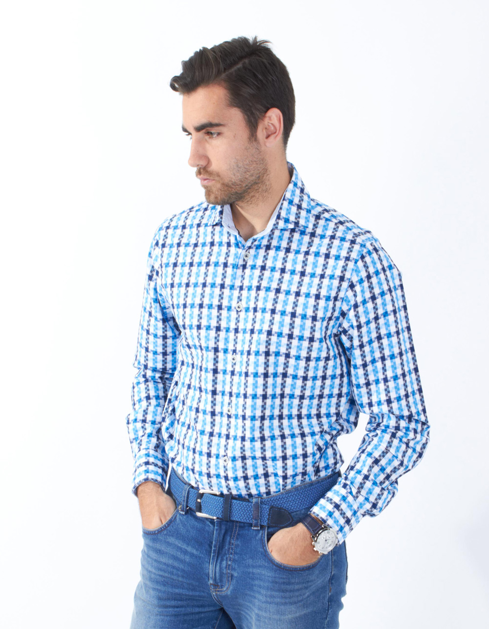 Structure checkered shirt - Backside