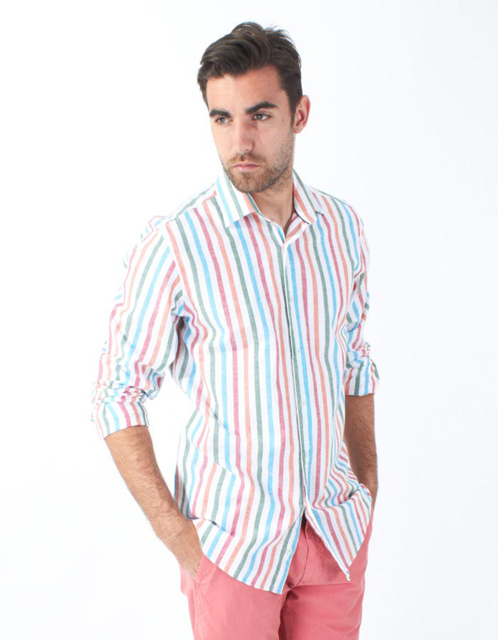 Multicolour striped shirt - Backside