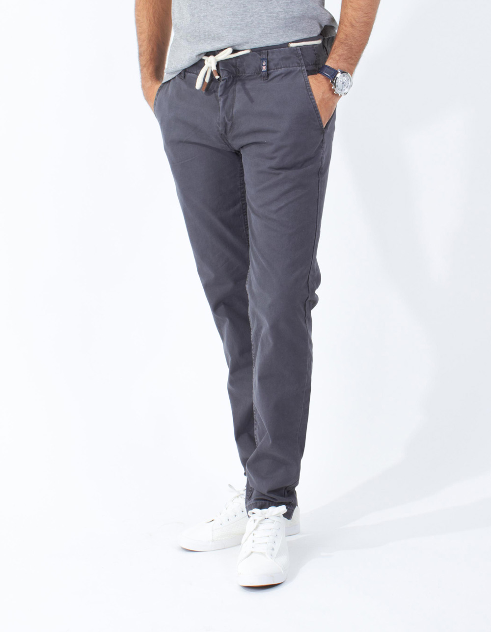 Grey chinos with double waistband