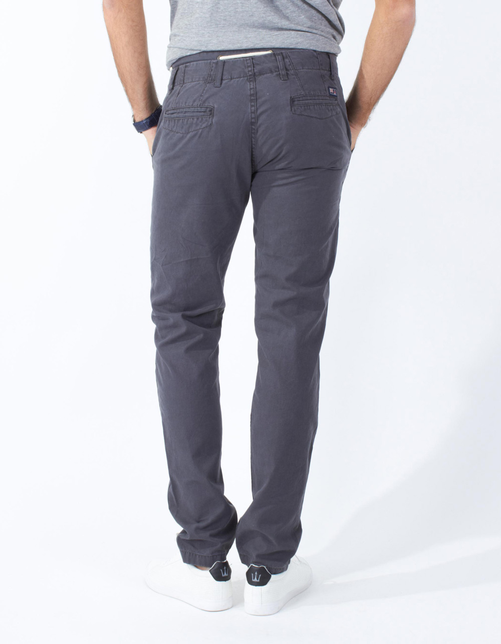 Grey chinos with double waistband - Backside