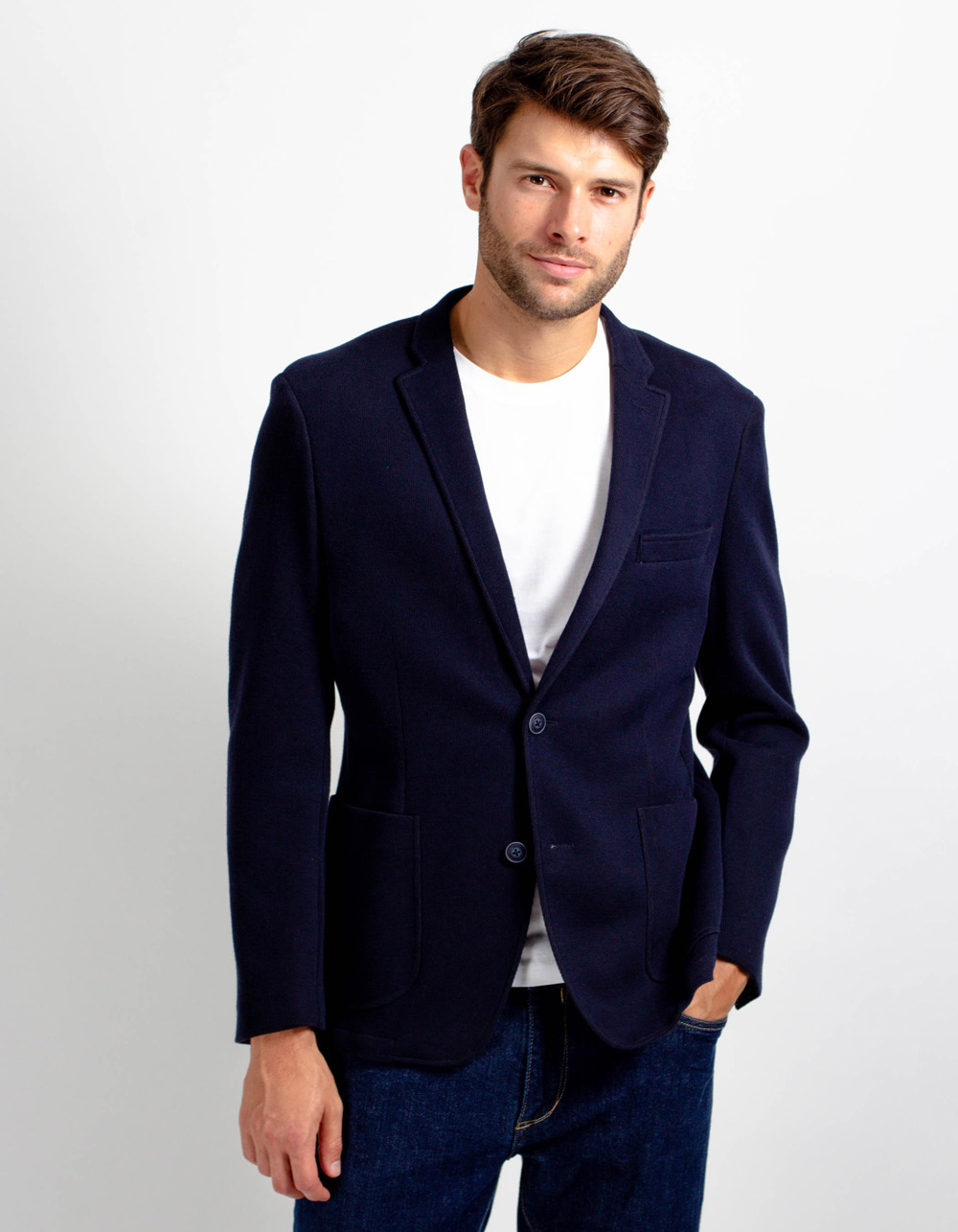 Navy blue knit blazer
