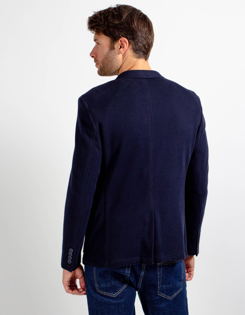 Navy blue knit blazer - Backside