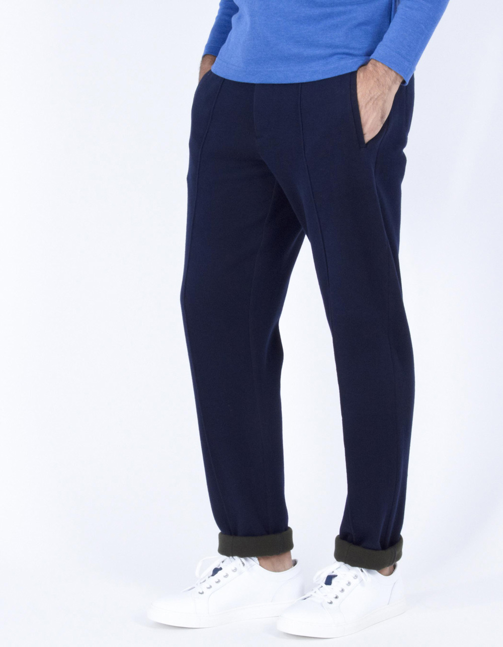 Navy blue sport trousers with darts