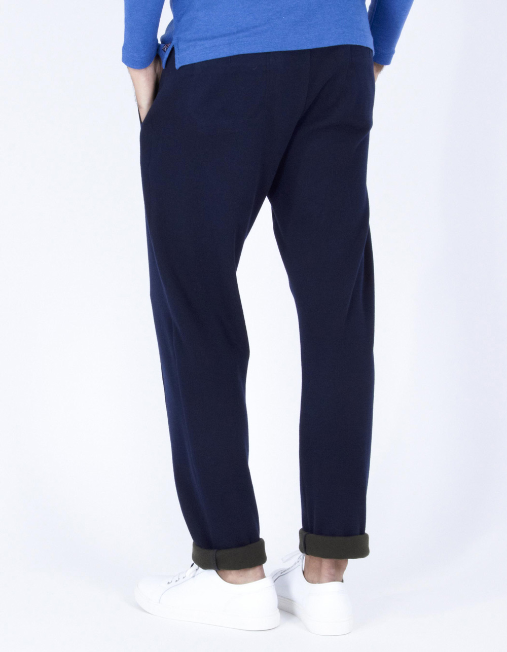 Navy blue sport trousers with darts - Backside