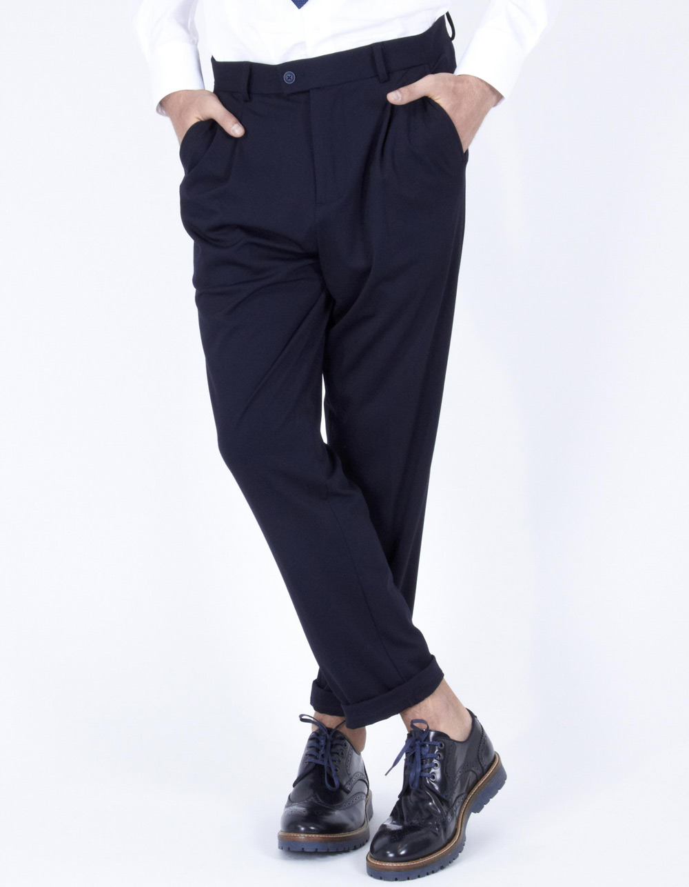 Dark navy trousers with darts