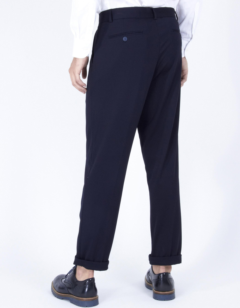 Dark navy trousers with darts - Backside