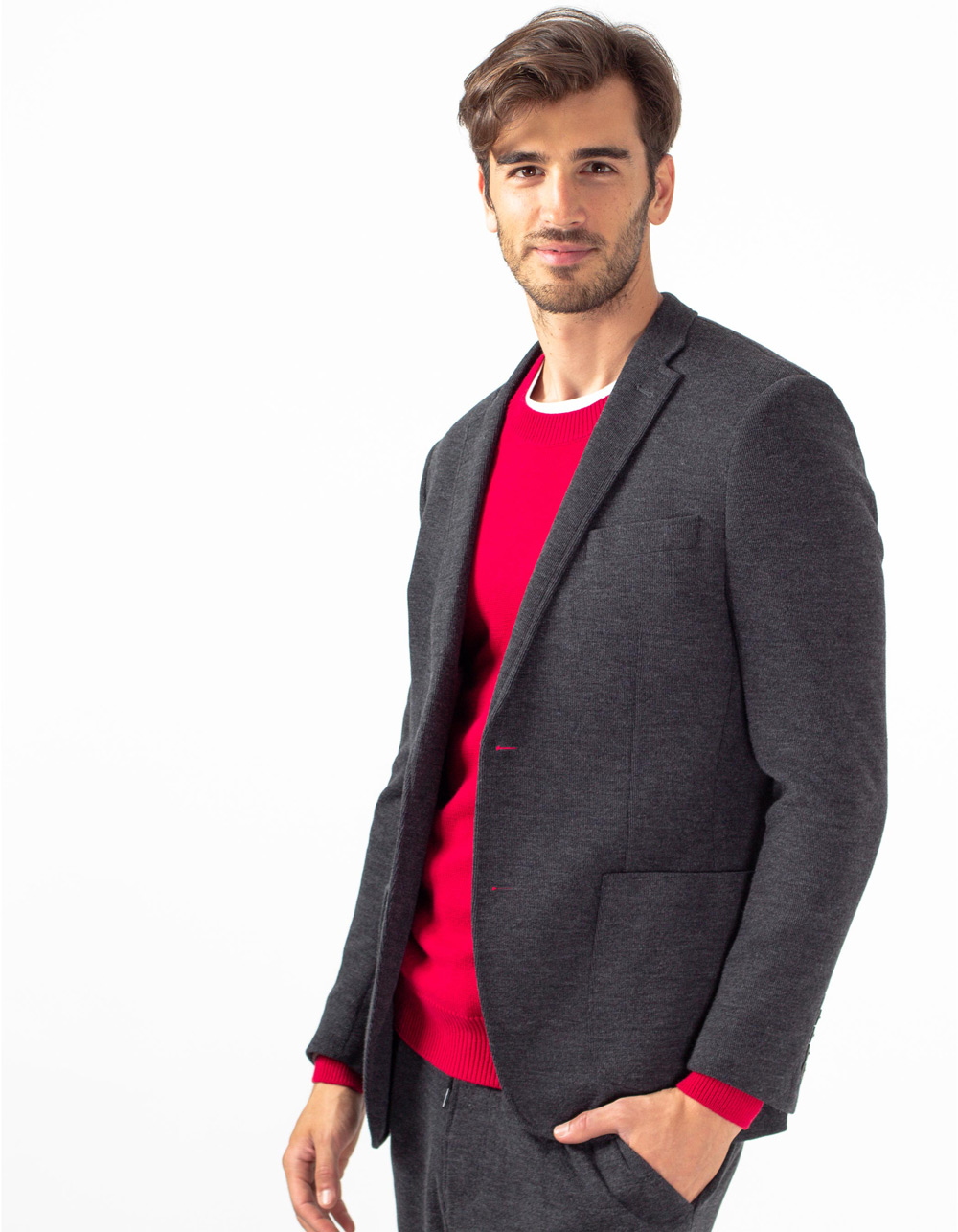 Charcoal grey knit blazer