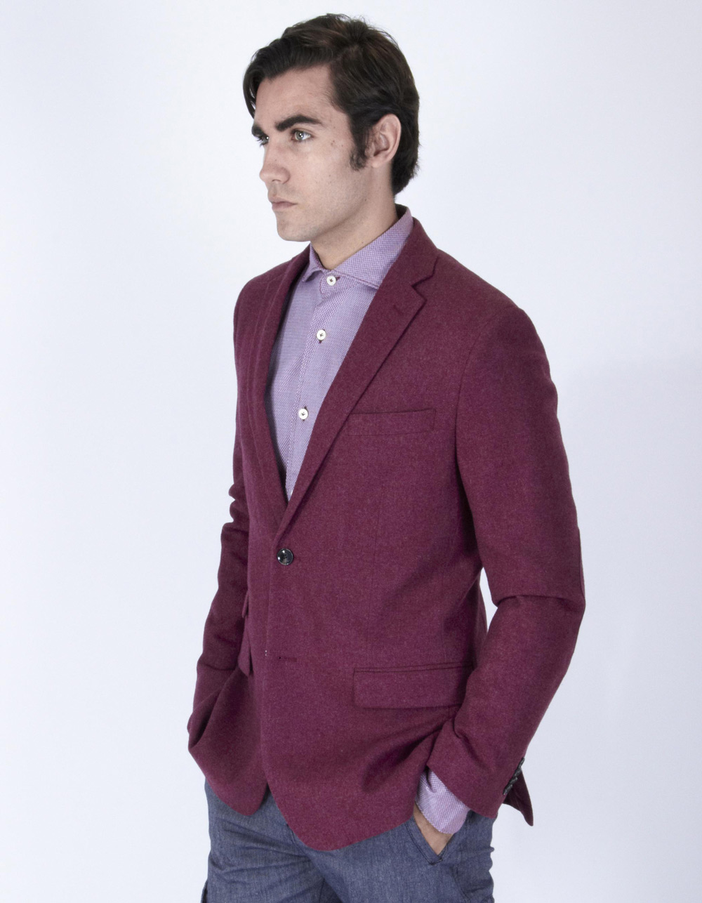 Maroon elbow patch blazer