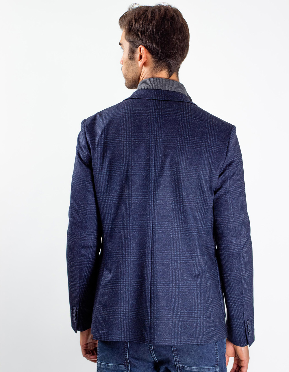 Navy blue plaid blaze - Backside