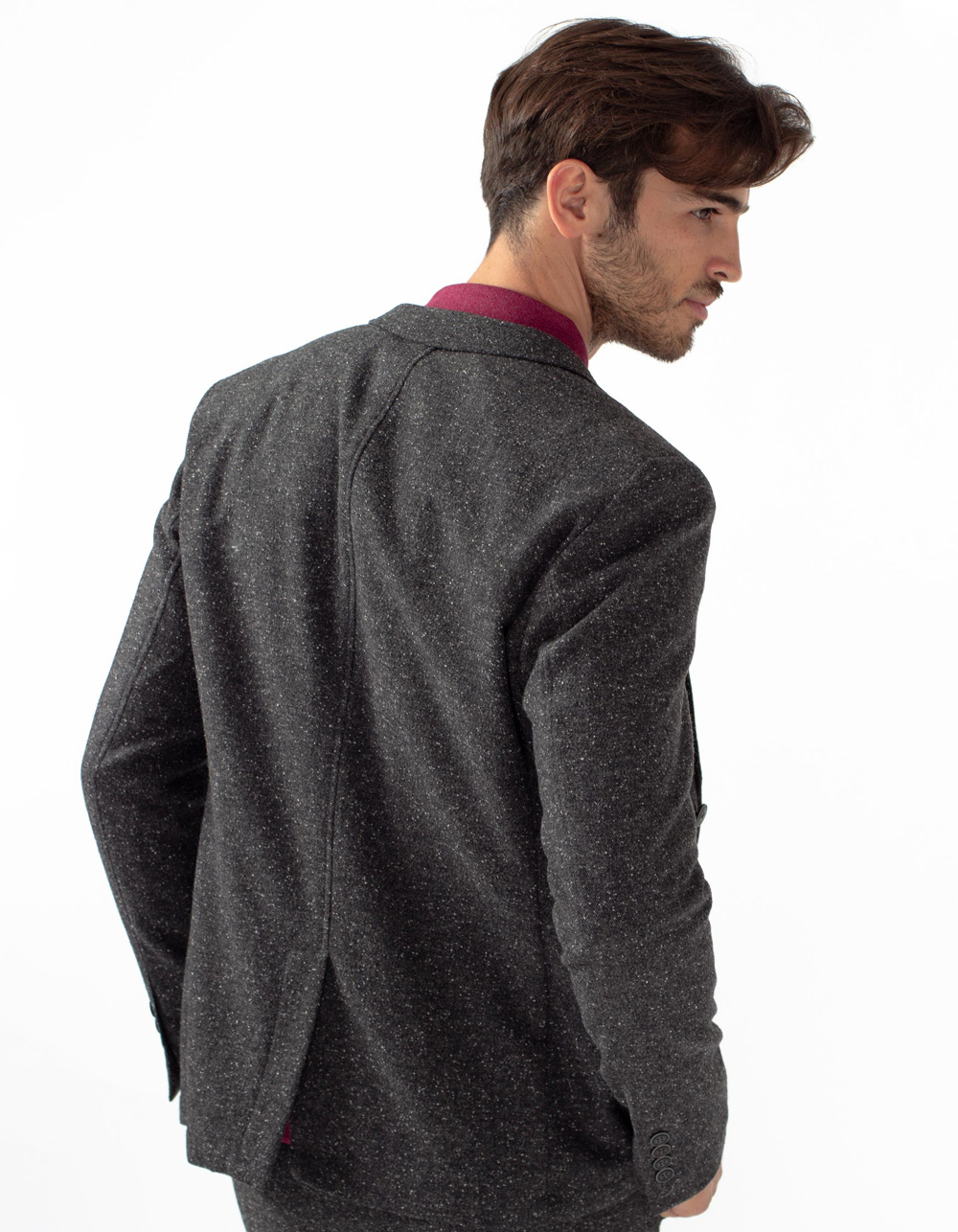 Grey micro structure blazer - Backside