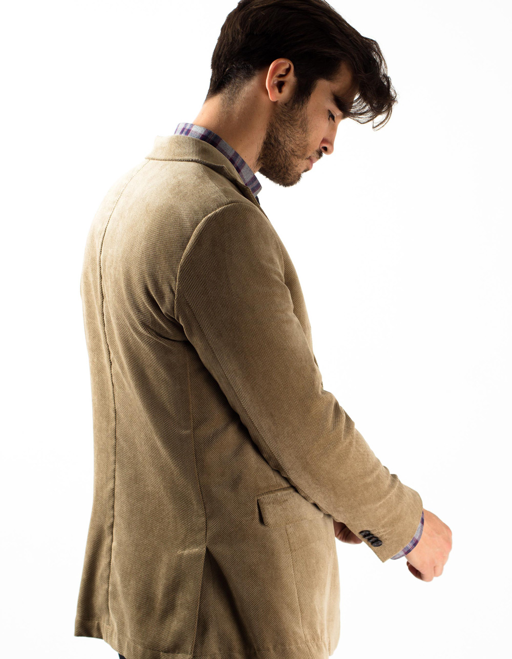 Camel fine ribbed corduroy jacket - Backside