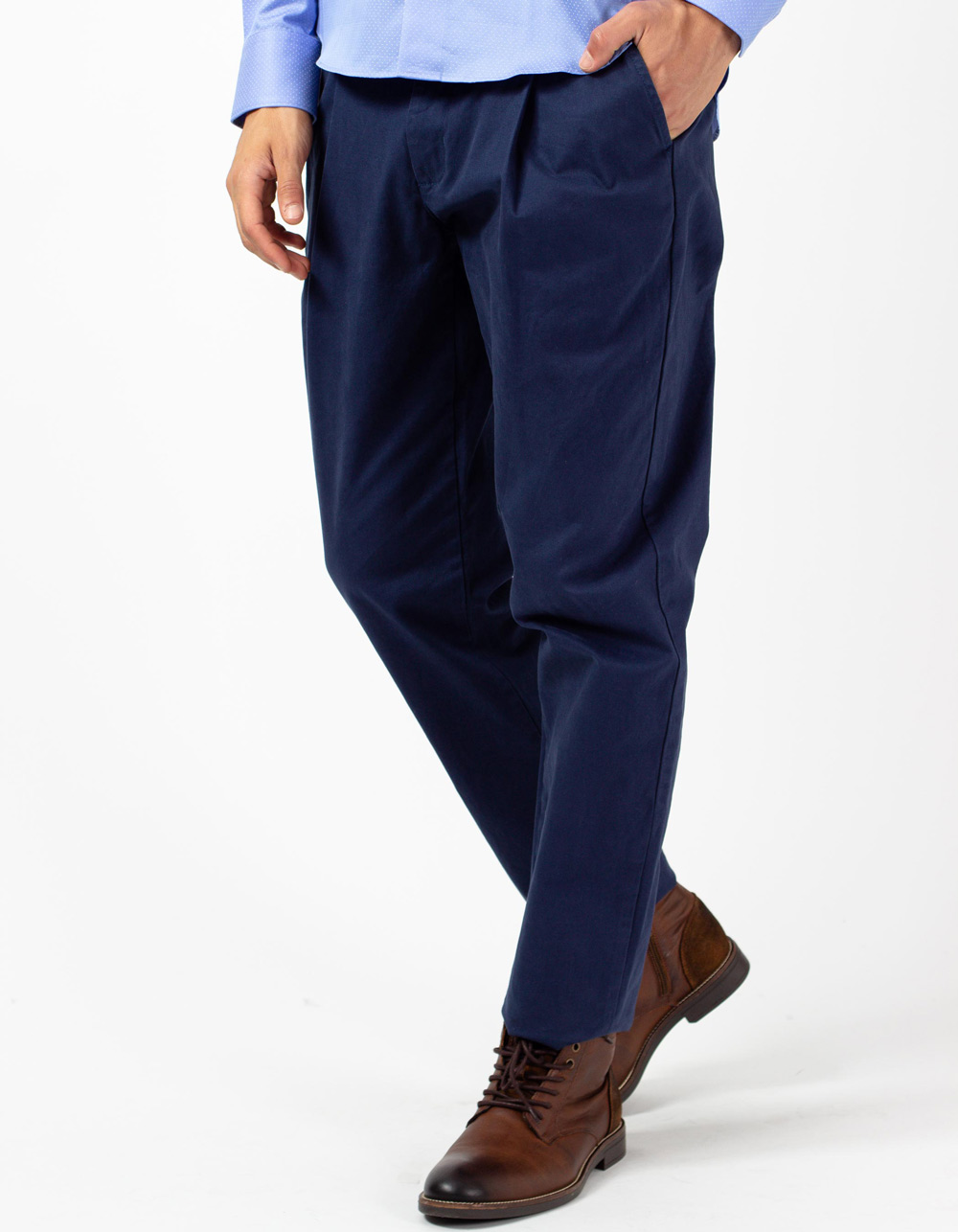 Blue trousers with darts
