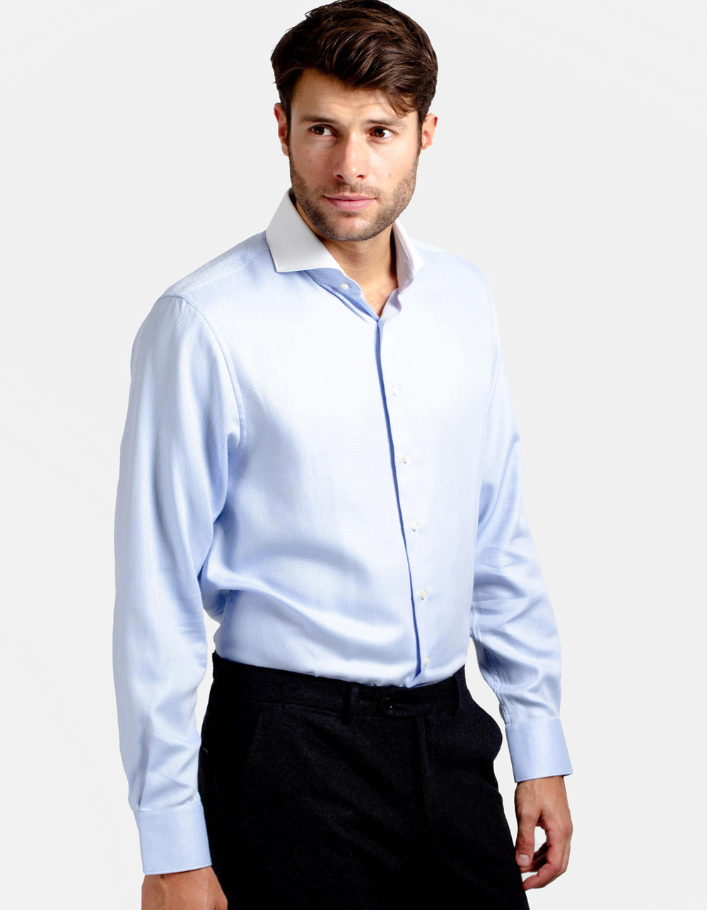 Blue Royal Oxford shirt with white collar