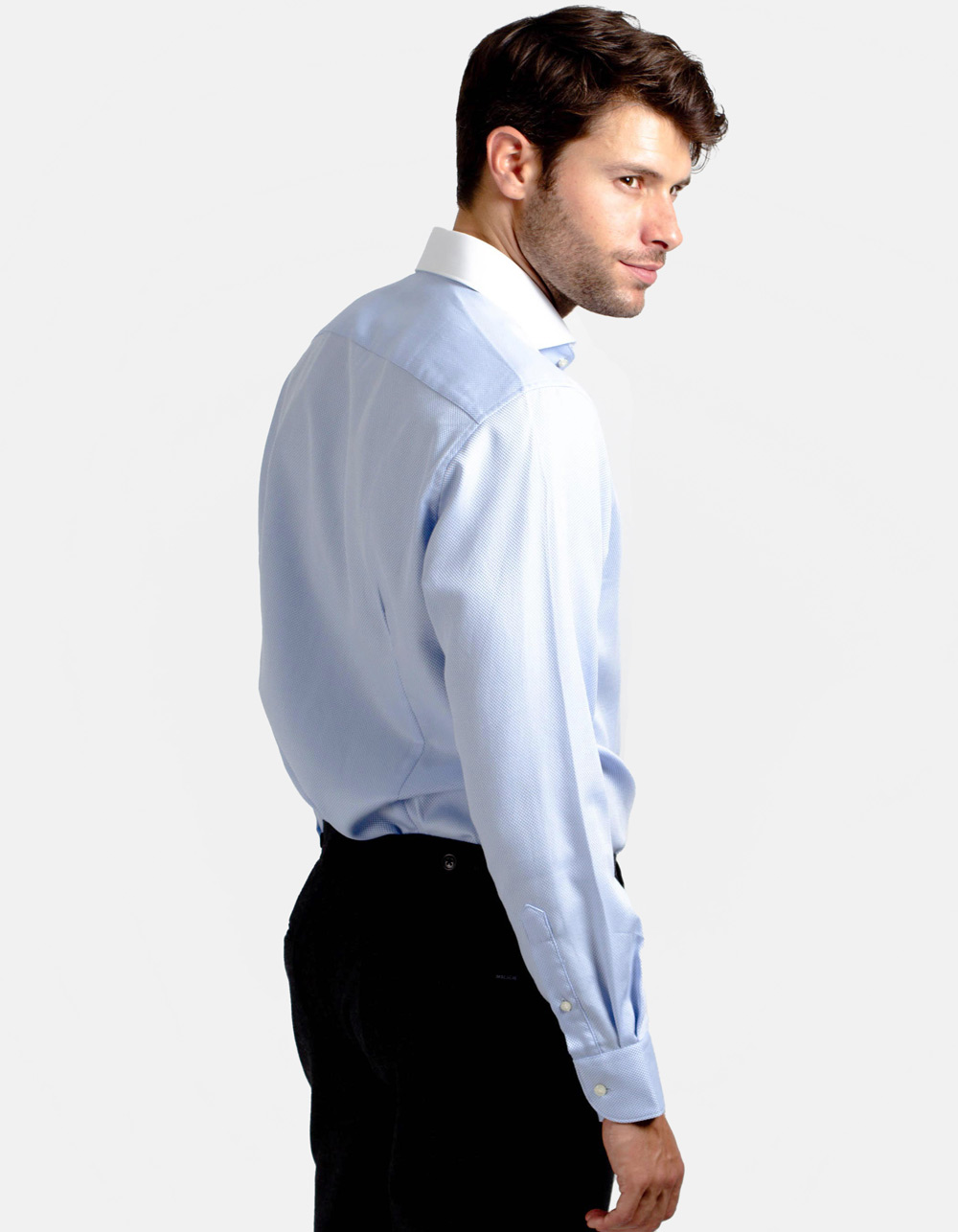 Blue Royal Oxford shirt with white collar - Backside