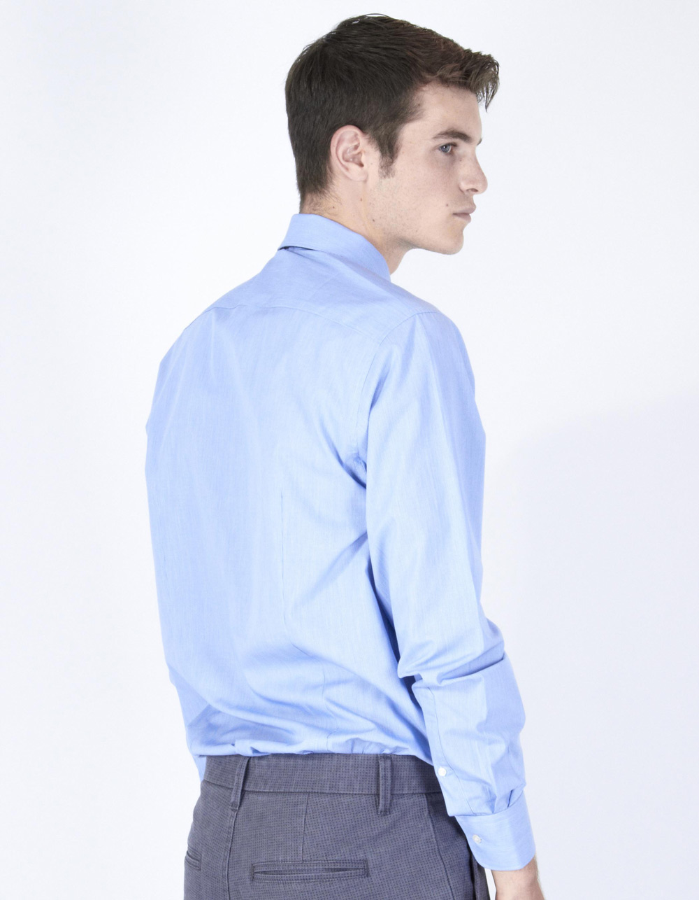 Navy blue poplin shirt - Backside