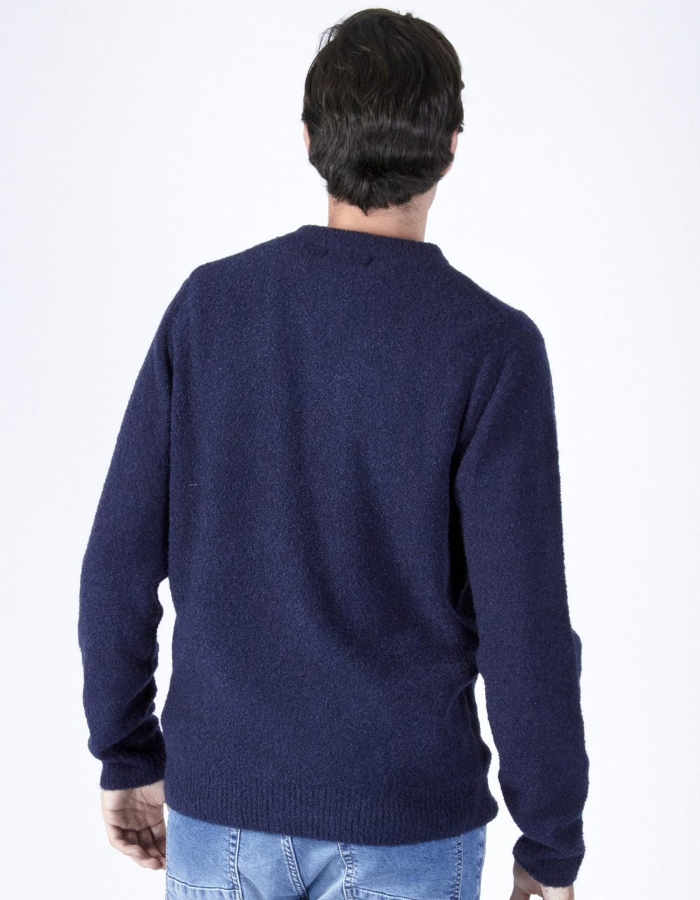 Navy blue round collar sweater - Backside