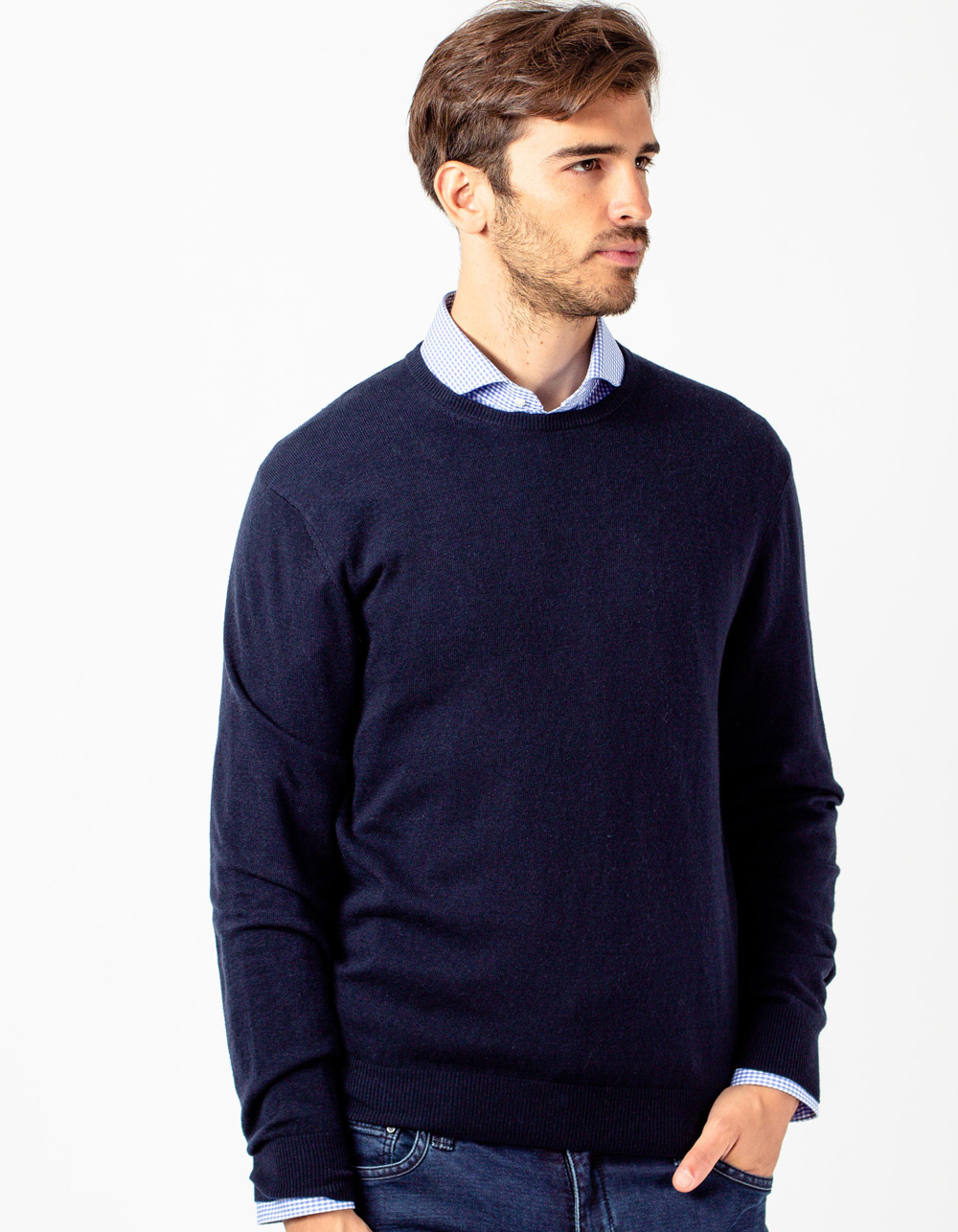 Navy blue crew neck sweater