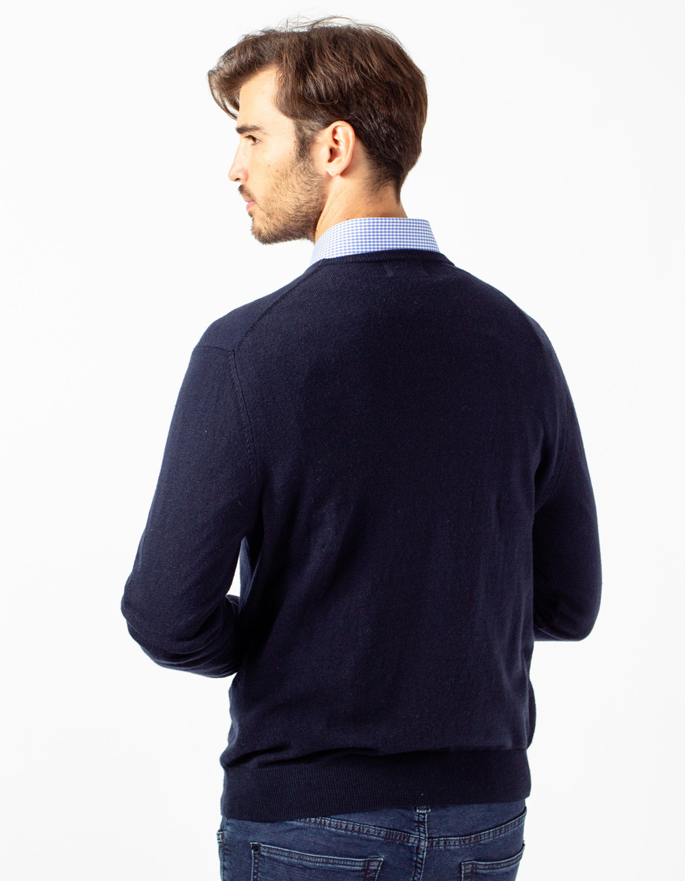 Navy blue crew neck sweater - Backside