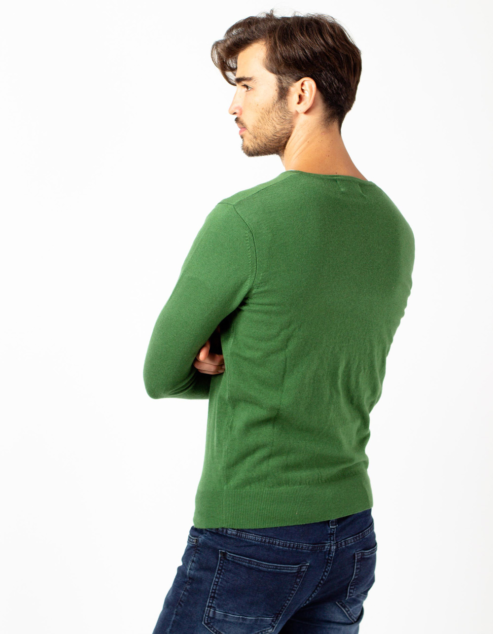 Jersey de cuello pico oliva - Backside