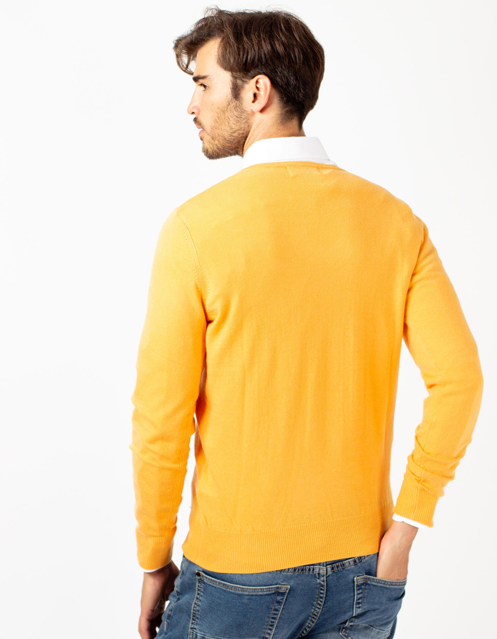 Jersey de cuello pico mostaza - Backside