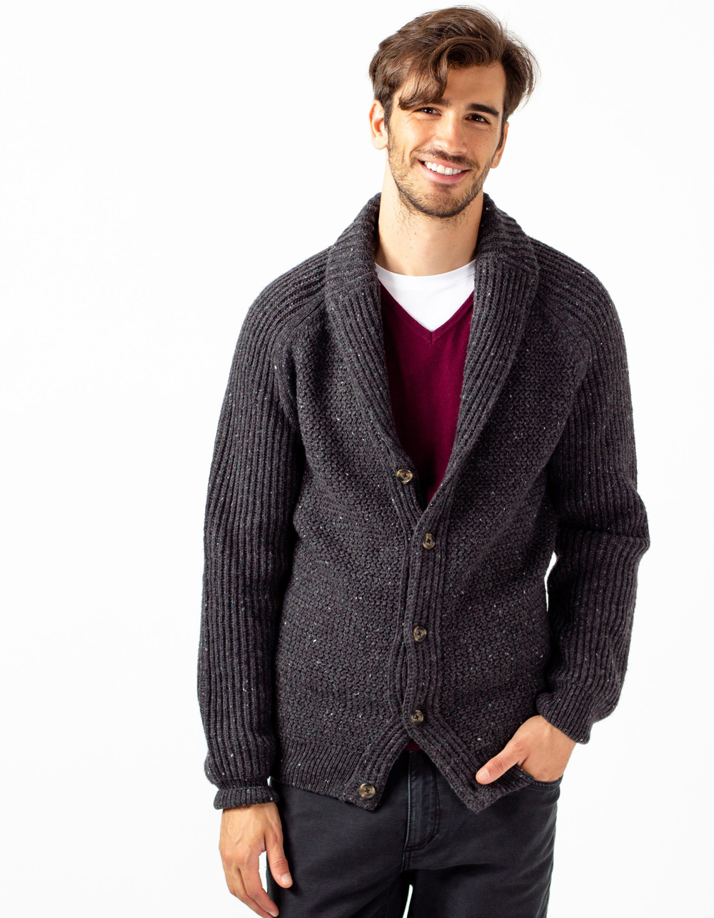 Grey shawl neck cardigan