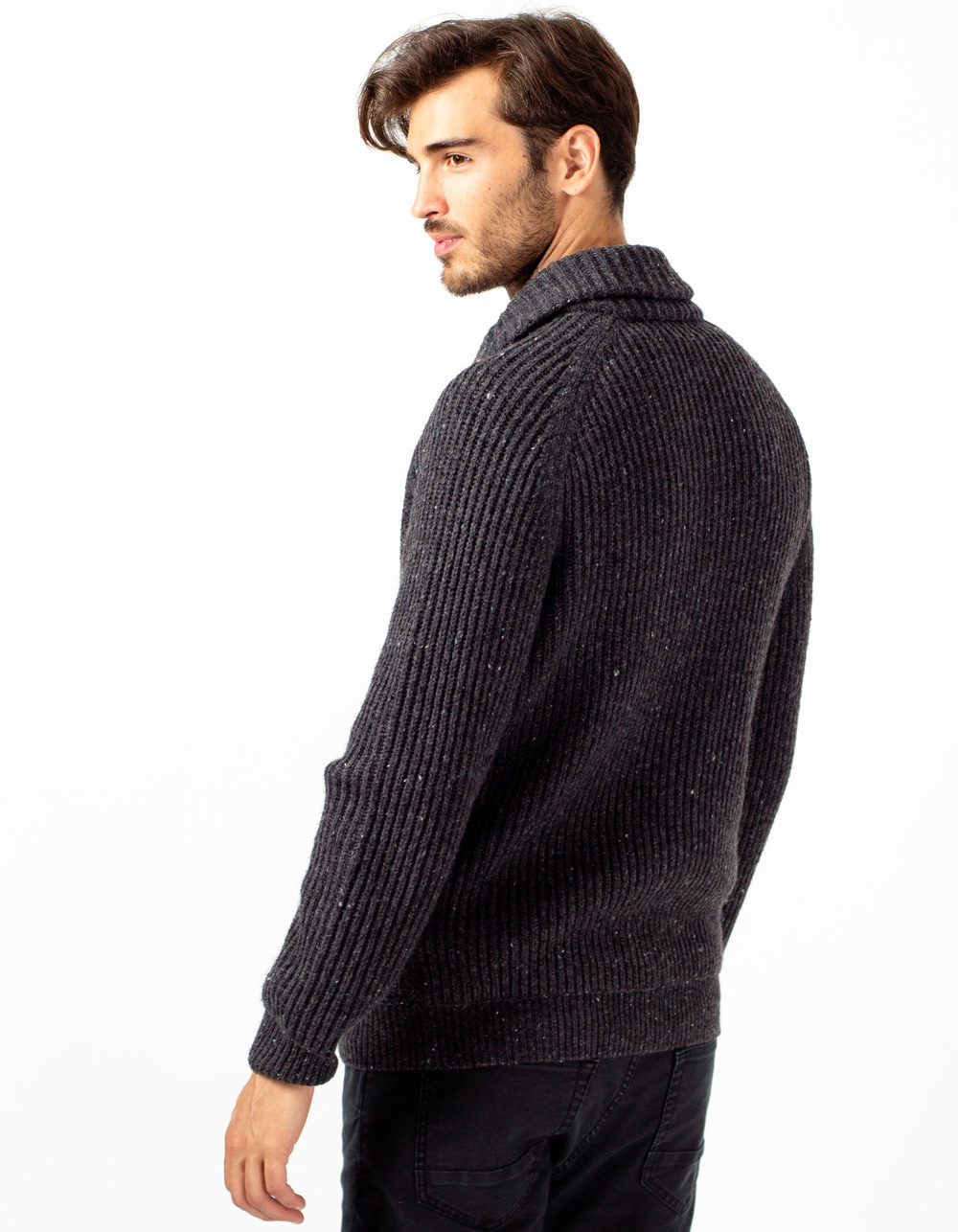 Grey shawl neck cardigan - Backside