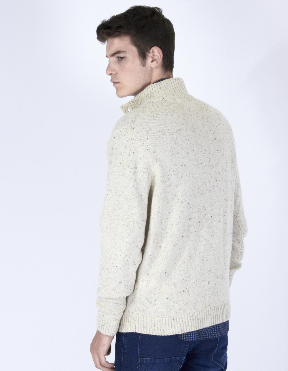 Blue knit button sweater - Backside