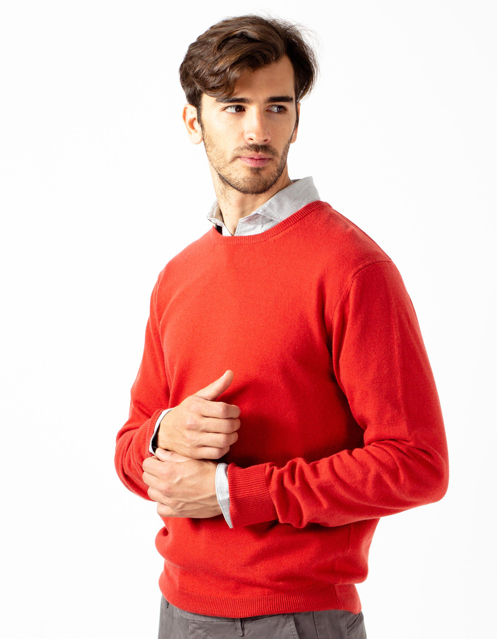 Brick red crew neck sweater