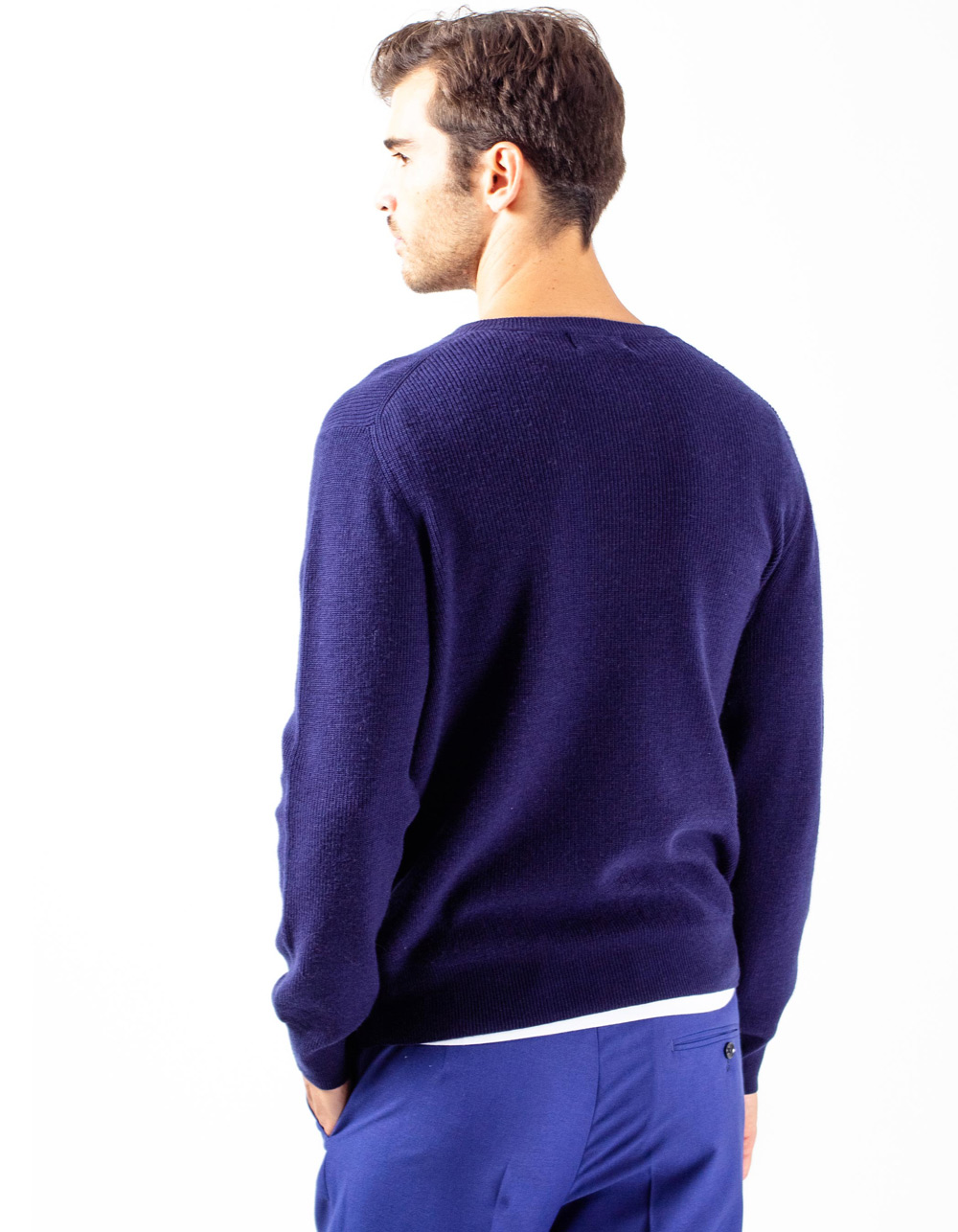 Navy blue sweater with buttons - Backside