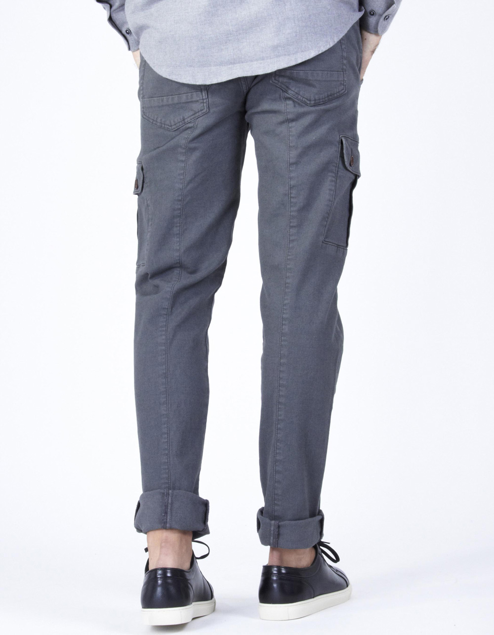 Grey cargo trousers with micro-pattern - Backside