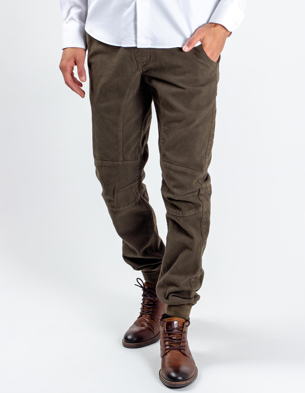 Kaki jogging trousers with micro-pattern