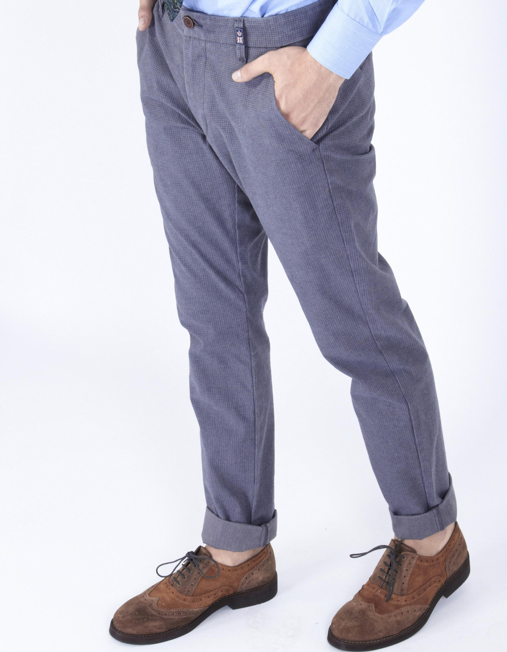 Blue micro-pattern trousers