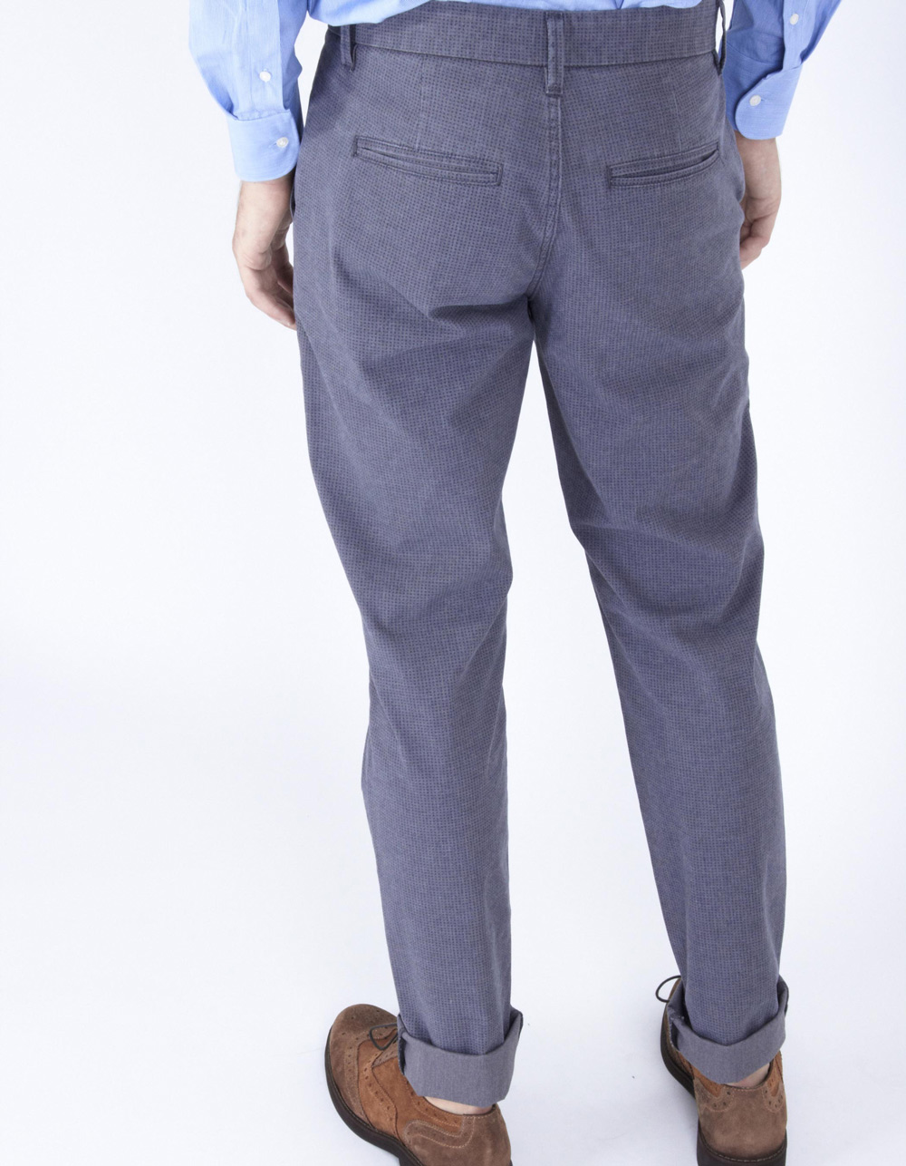 Blue micro-pattern trousers - Backside