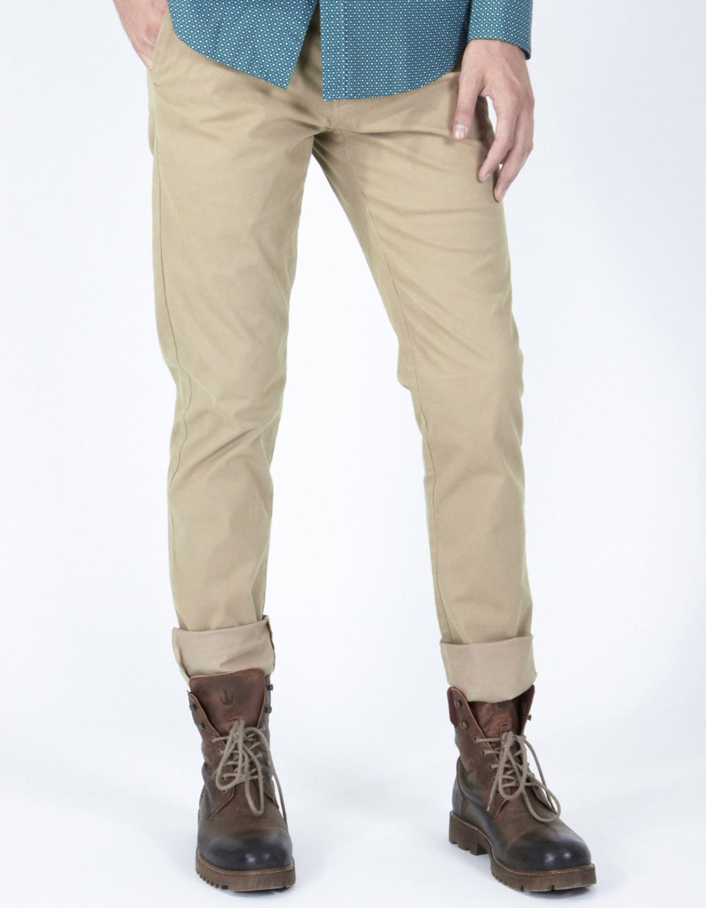 Beige micro-stripe trousers