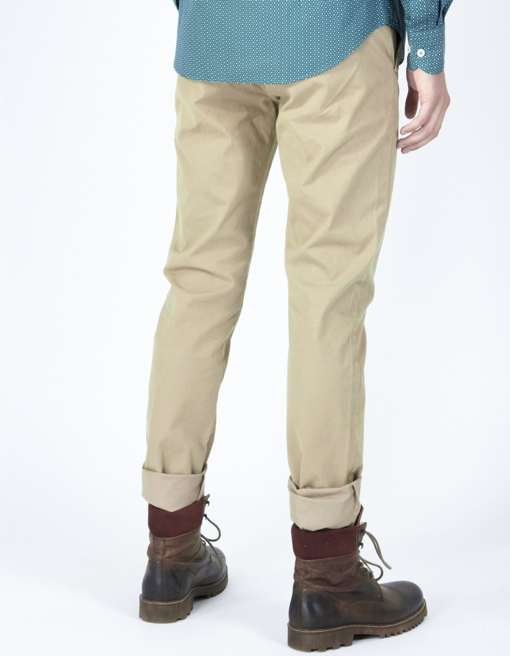 Beige micro-stripe trousers - Backside