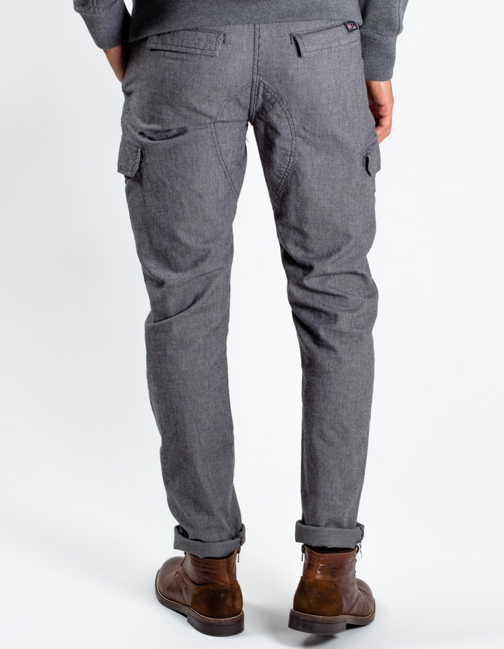 Grey cargo trousers with ropes - Backside