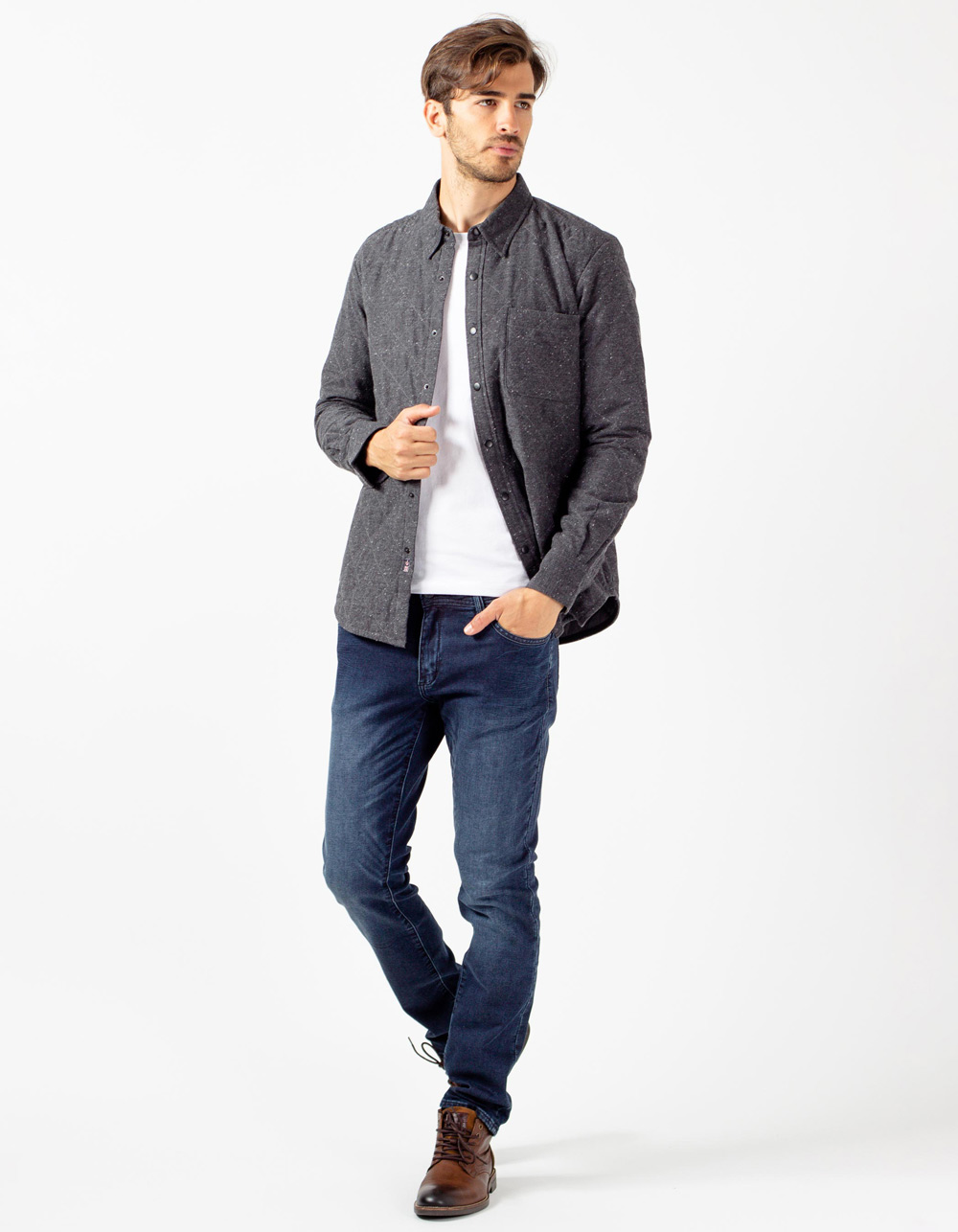 Charcoal grey quilted overshirt