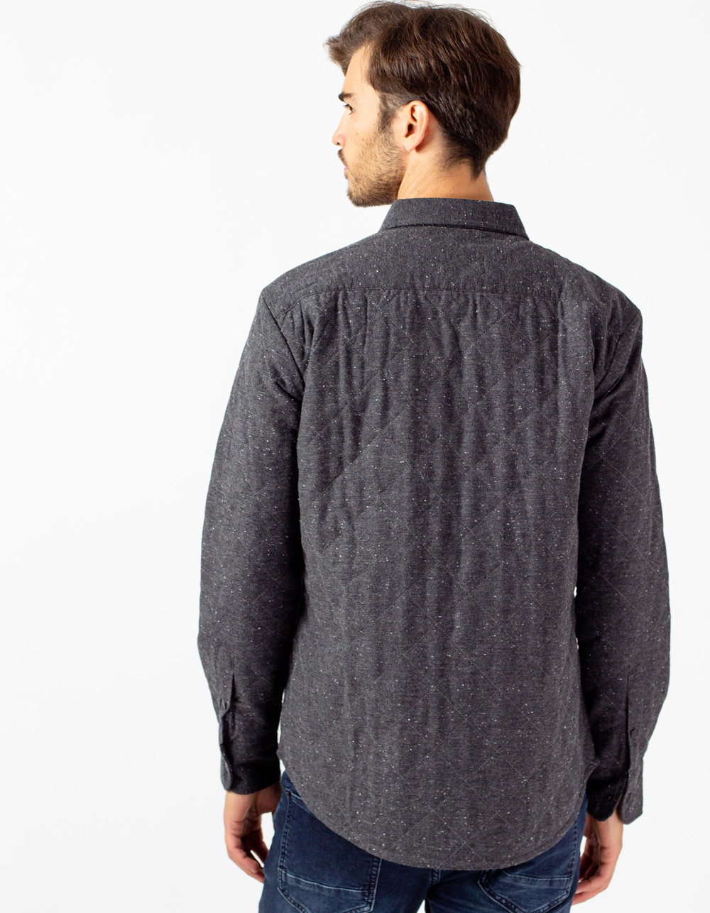 Charcoal grey quilted overshirt - Backside