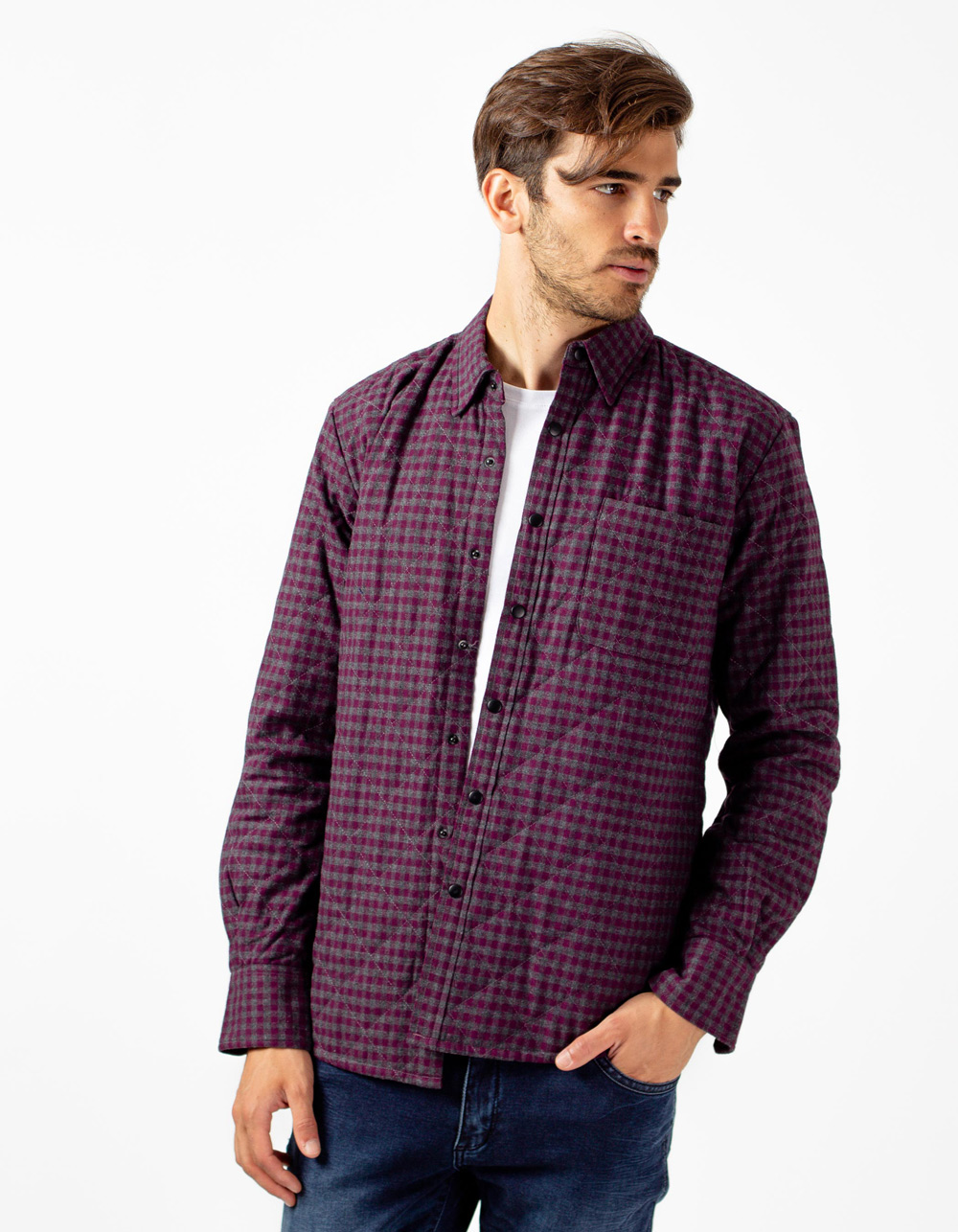 Lilac quilted overshirt