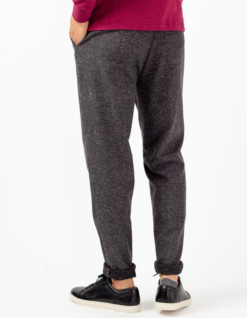 Dark grey trousers with darts and wool - Backside