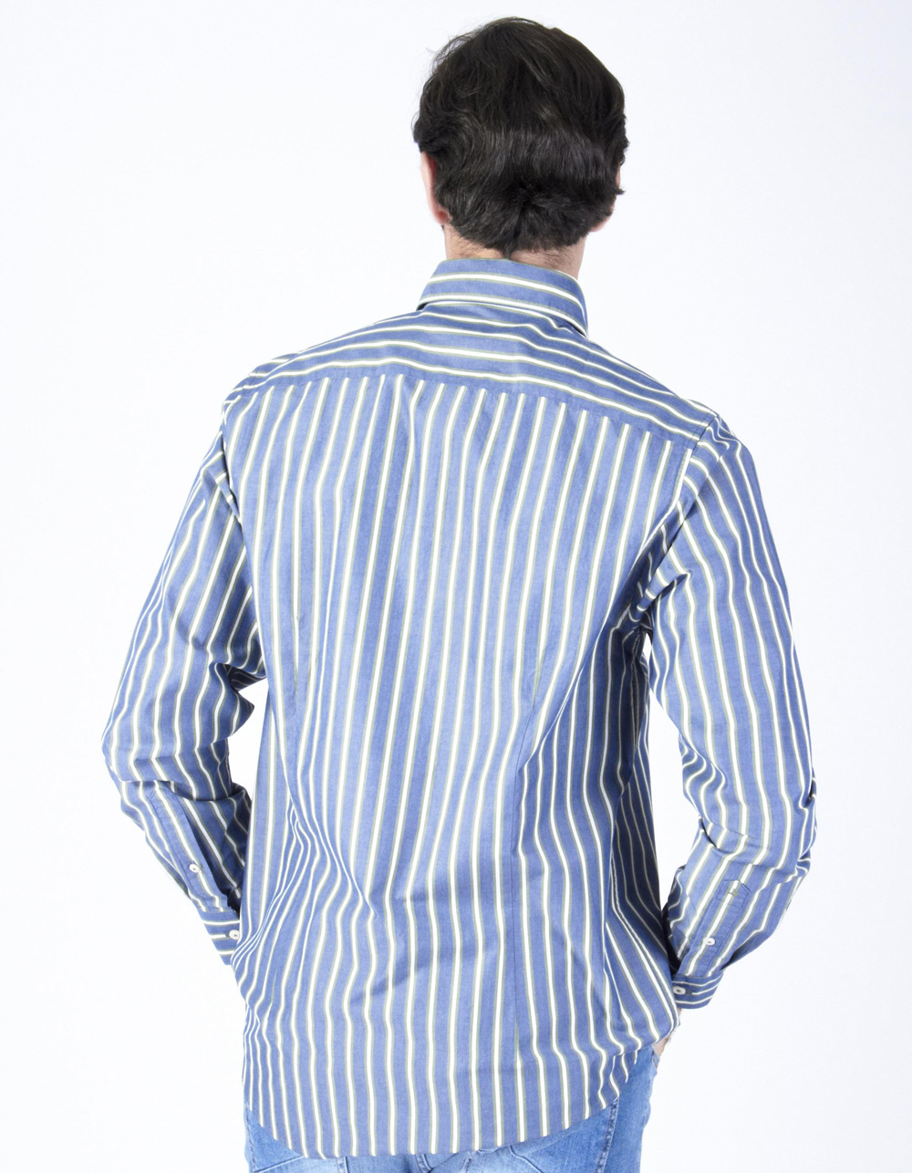 Blue and green striped shirt - Backside