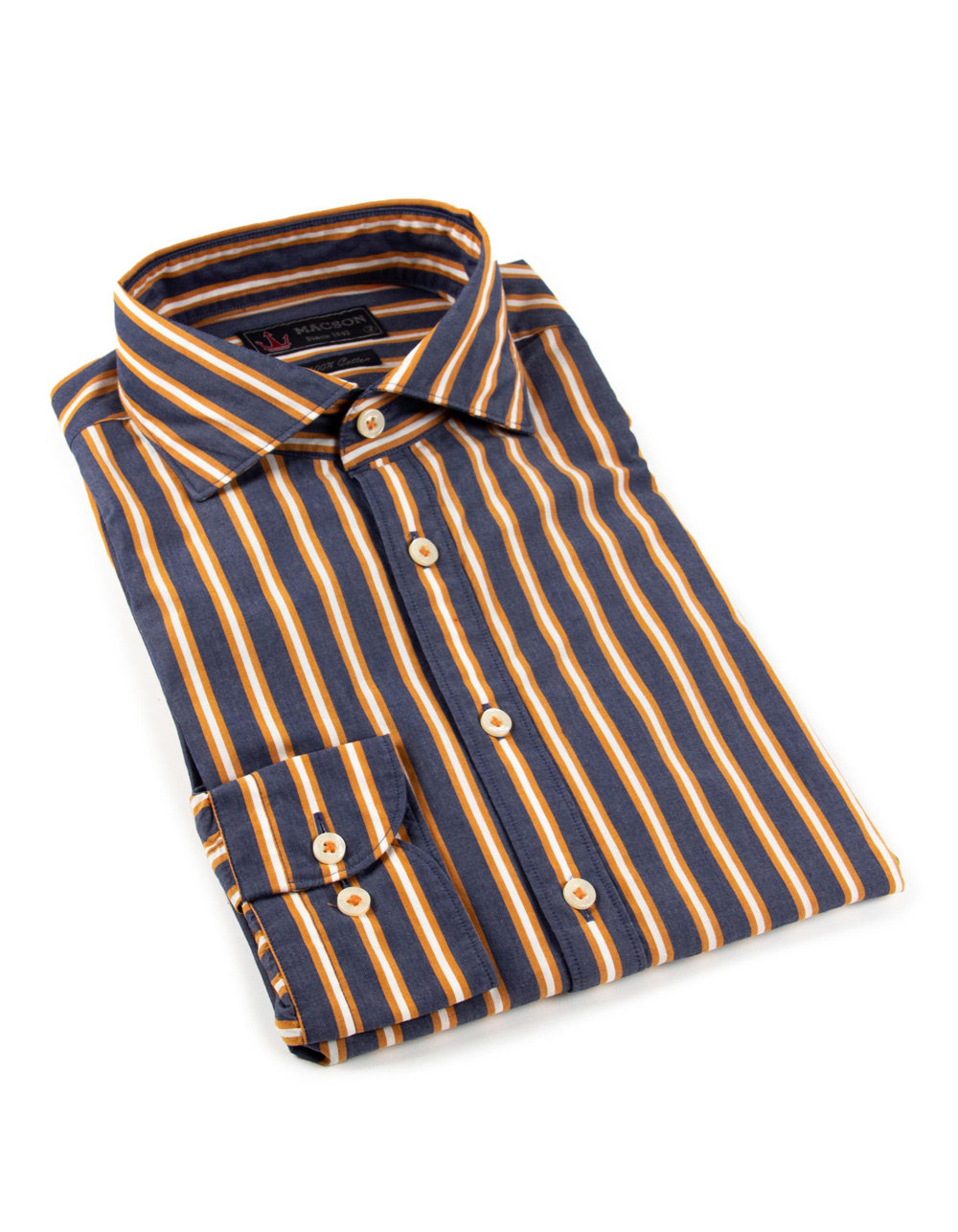 Blue and orange striped shirt
