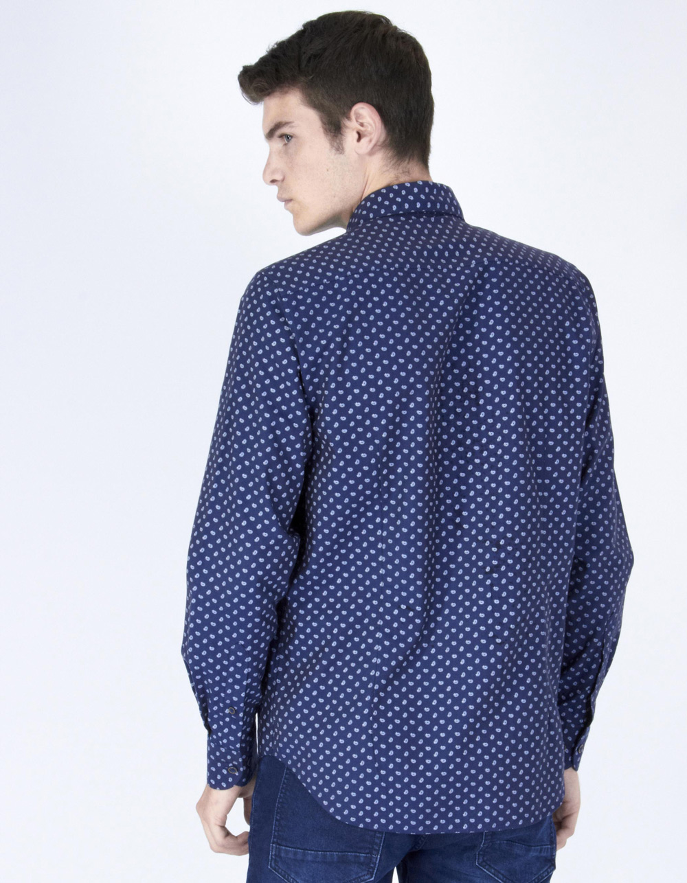 Petrol micro-spotted shirt - Backside
