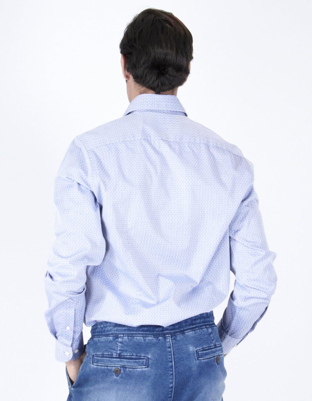 Blue structure micro-spotted shirt - Backside