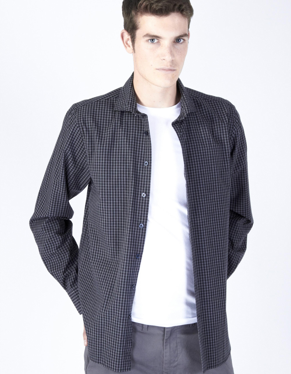Charcoal grey plaid shirt