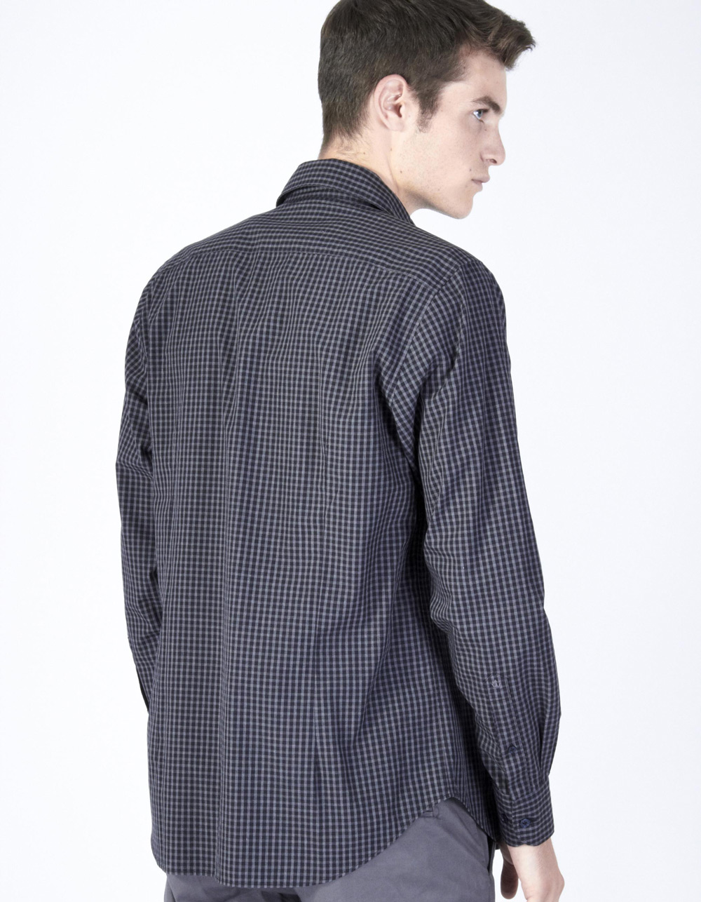 Charcoal grey plaid shirt - Backside